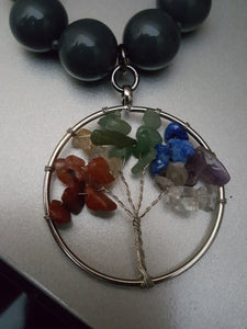 Vintage Grey Beaded Necklace ~Multi-Color Gemstone Tree Of Life Pendant