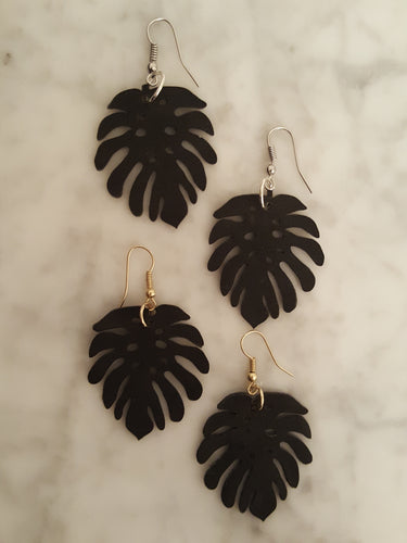 Palm Frond~ Black, Faux Suede, Dangle