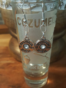 12ga Spent Shotgun Shells~Sterling Silver Plated, Dangle Earrings