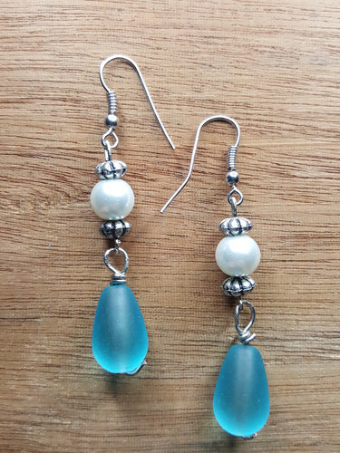 Seaglass & Pearls~Dangle Style Earrings