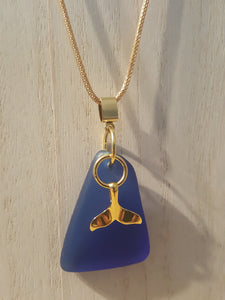 Custom Order~Cobalt Blue Authentic Seaglass Pendant/Necklace With Whale Tail