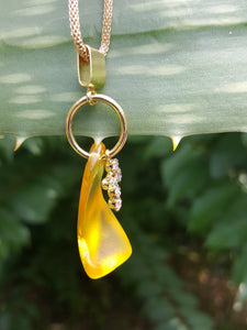 Light Amber (Deep Yellow) Seaglass Pendant With Opalescent Cross