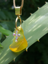 Load image into Gallery viewer, Light Amber (Deep Yellow) Seaglass Pendant With Opalescent Cross