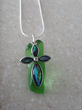 Load image into Gallery viewer, ~Authentic, Kelly Green, Seaglass Wedge Pendant With Opalescent Cross