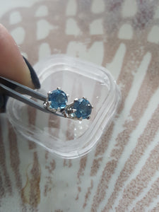 London Blue Topaz Earrings~ 6mm (1.62 CT) ~925 Sterling Silver Stud Posts