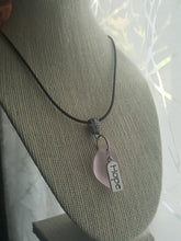 "Load image into Gallery viewer, Handmade Pink Seaglass Wedge Pendant With Sterling Silver Plated ""HOPE"" Charm"