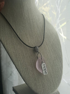 "Handmade Pink Seaglass Wedge Pendant With Sterling Silver Plated ""HOPE"" Charm"