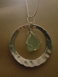 Seafoam Green Authentic Sea Glass With Hand Wire Wrap