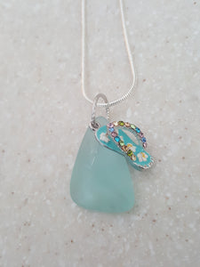 Seafoam Green Authentic Sea Glass With Teal Flip Flop