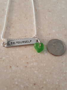 """BE YOURSELF"" Bar Style Pendant With Kelly Green Seaglass Heart"