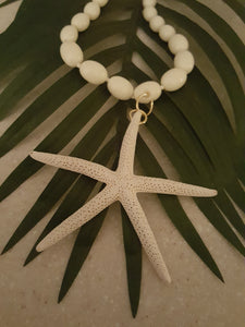 White Vintage Bead Necklace With Starfish Pendant