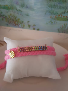 Pink Braided Bracelet~ Multicolored Gemstones