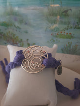 Load image into Gallery viewer, Purple Braided Bracelet~ Sterling Silver & Pink Gemstone Filigree Circle