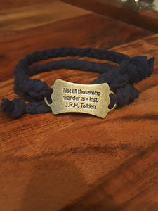 "Navy Blue Braided Wrap Bracelet~ ""Not All Those Who Wander..."""