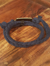 "Load image into Gallery viewer, Navy Blue Braided Wrap Bracelet~ ""Not All Those Who Wander..."""
