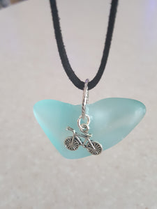 Heart Wedge Seafoam Green Pendant With Bicycle Charm