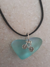 Load image into Gallery viewer, Heart Wedge Seafoam Green Pendant With Bicycle Charm
