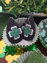 Load image into Gallery viewer, St. Patrick's Day~Faux Leather, Tear Drop Style Dangle Earrings