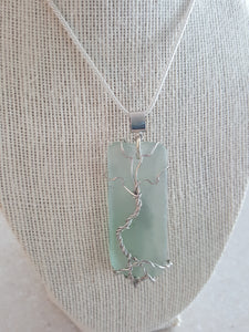 Seafoam Green Sea Glass Pendant With Tree of Life