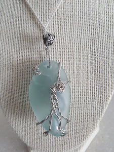 Custom Seafoam Green, Ovalesque Sea Glass With Tree Of Life Wire Wrap