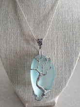 Load image into Gallery viewer, Custom Seafoam Green, Ovalesque Sea Glass With Tree Of Life Wire Wrap