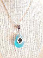 Load image into Gallery viewer, Custom Aqua Sea Glass With Sterling Silver Plated Paw Print Charm