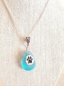 Custom Aqua Sea Glass With Sterling Silver Plated Paw Print Charm