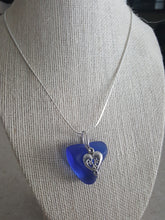 Load image into Gallery viewer, Custom~Cobalt Blue Authentic Sea Glass Pendant With Ornate Heart Charm