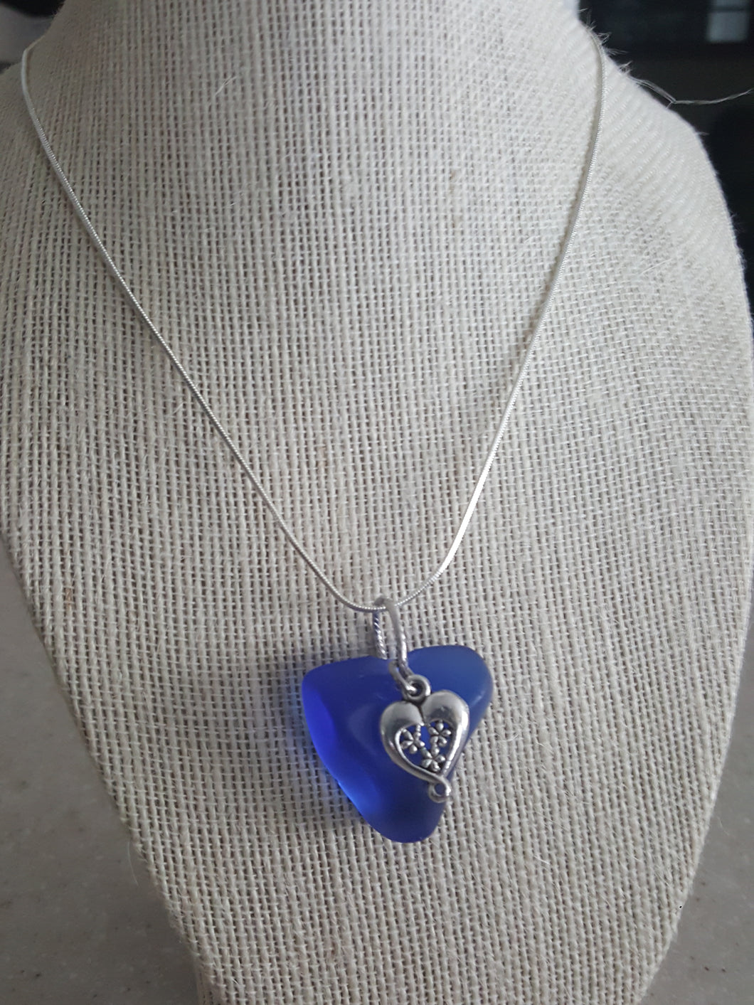 Custom~Cobalt Blue Authentic Sea Glass Pendant With Ornate Heart Charm