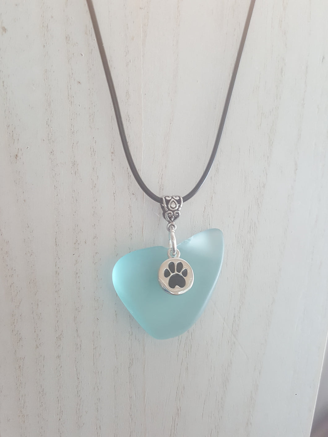 Fur Friend Necklace~ Seafoam Green Heart Shaped Seaglass Pendant With Paw Print Charm
