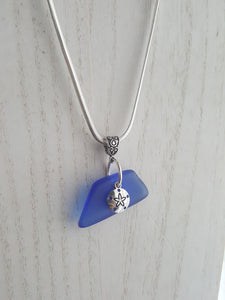 Cornflower Blue Seaglass Pendant~Sterling Silver Plated Chain~Sand Dollar Charm