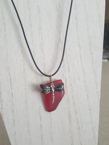 "Custom~Rare ""Red"" Sea Glass Pendant With Black Dragon Fly Charm"