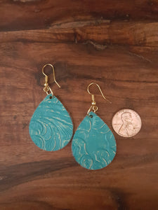 Turquoise Blue, Floral Embossed Faux Leather, Dangle Earrings