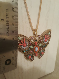 Golden Butterfly Pendant With Multi-Colored Beads & Gemstones