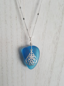Turquoise Sea Glass With Silver Filigree Charm