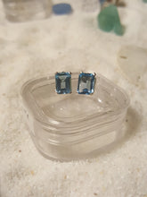 Load image into Gallery viewer, Sky Blue Topaz Earrings ~Stud Style Octagonal-Emerald Cut