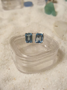 Sky Blue Topaz Earrings ~Stud Style Octagonal-Emerald Cut
