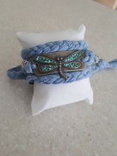 Load image into Gallery viewer, Nantucket Blue (Handmade) Stack Bracelet With Dragon Fly Buckle