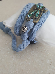 Nantucket Blue Hand Braided Wrap/Stack Bracelet With Dragon Fly Buckle