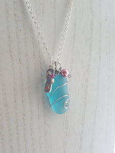 Island Inspired, Hand Wrapped, Aqua Blue Sea Glass Pendant
