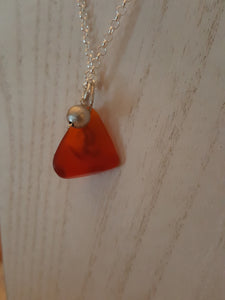 "The ""Shy"" Mermaid Pendant ~ Rare Orange/Red Authentic Sea Glass Triangle With Grey Shimmer Bead"