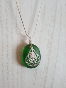 Ovalesque Kelly Green Authentic Seaglass Pendant With Silver Filigree Charm