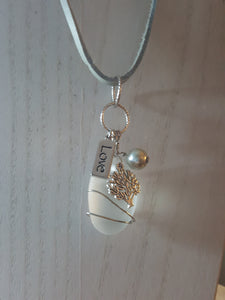 Frosty White Sea Glass Pendant With Tree of Life Charm & LOVE Message