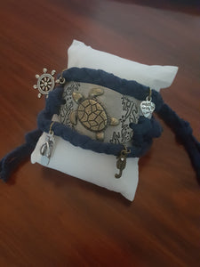 Navy Blue Hand Braided Wrap Bracelet With Swimming Turtle Buckle