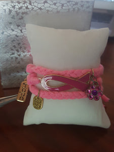 Pink Braided Wrap Bracelet~ Breast Cancer Awareness Ribbon