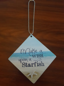 Wood Scent Diffuser/ Automobile Hang Tag~ Make A Wish Upon A Starfish