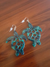 "Load image into Gallery viewer, Green & Black ""Camo"" Sea Turtle Dangle Earrings"