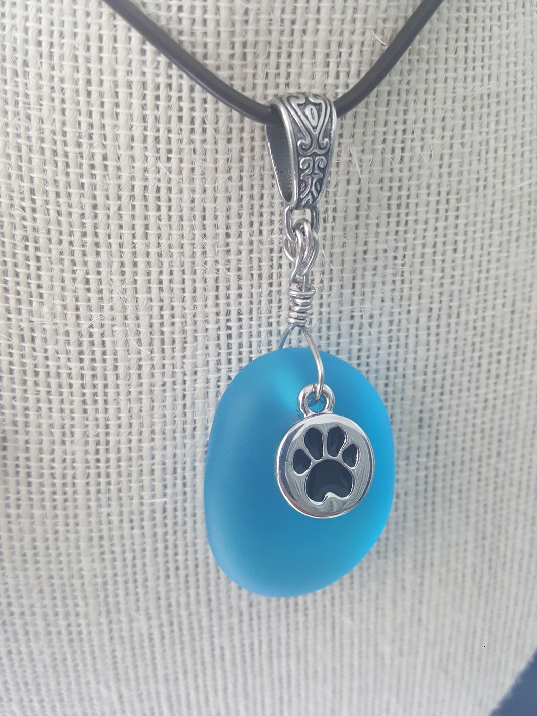 Turquoise Seaglass Pendant With Silver Fur Friend Paw Print Charm and Hand Wire Wrap