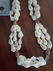 Miniature Conch Shell Necklace~Triple Layer, Creme & Brown