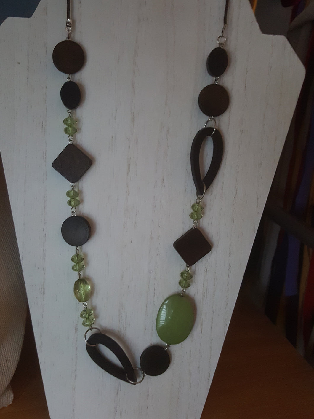 Handmade Geometric Necklace in Wood & Bead